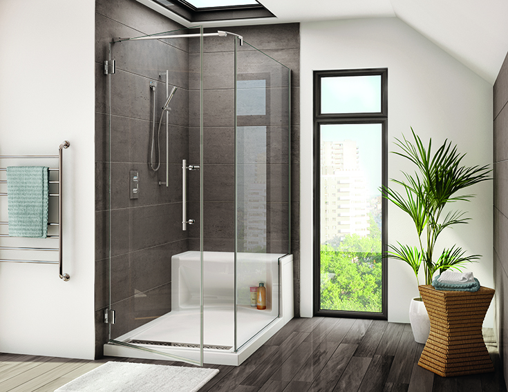 FAQ 6 glass over a bench seat with a pivoting glass shower door | Innovate Building Solutions | #BenchSeat #Seating #BathroomRemodel