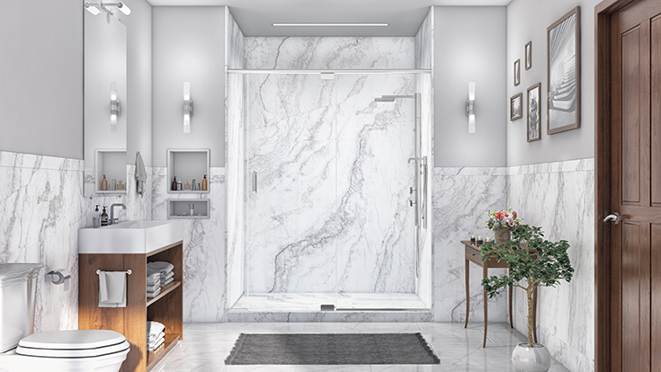FAQ 7 idea 4 PVC composite DIY grout free marble look shower wall panels | Innovate Building Solutions | #PVCComposite #ShowerPan #BathroomWalls #ShowerWalls