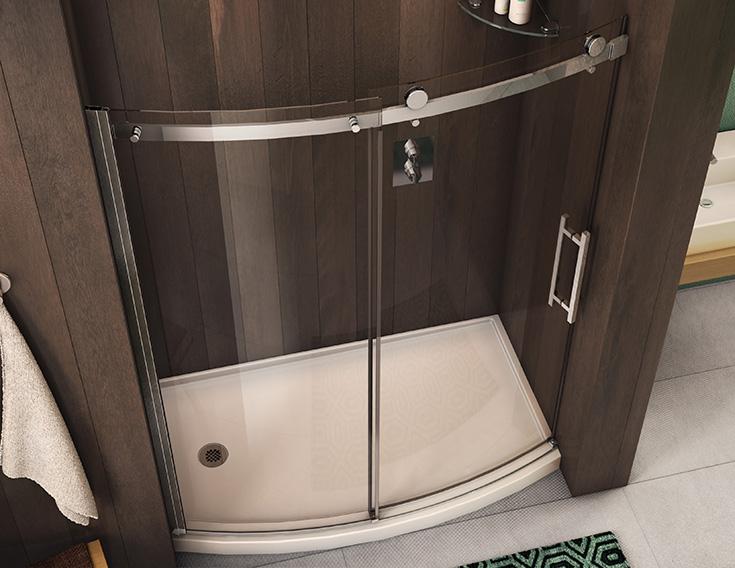 Feature 4 men curved sliging glass shower door and base | Innovate Building Solutions | #Curvebase #ShowerBase #GlassDoor #BathroomRemodel