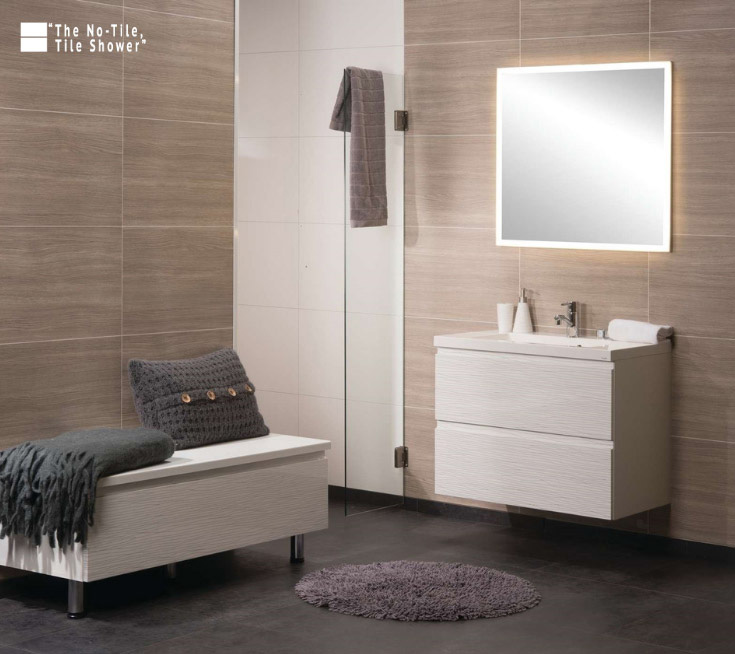Feature 4 women laminate bathroom and shower wall panels | Innovate Building Solutions #WallPanel #ShowerRemodel #BathroomRemodel #walkinshower
