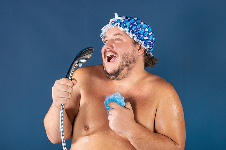 Feature 5 funny overweight guy in a shower singing | Innovate Building Solutions | #BathroomRemodel #ShowerRemodel #SingingShower