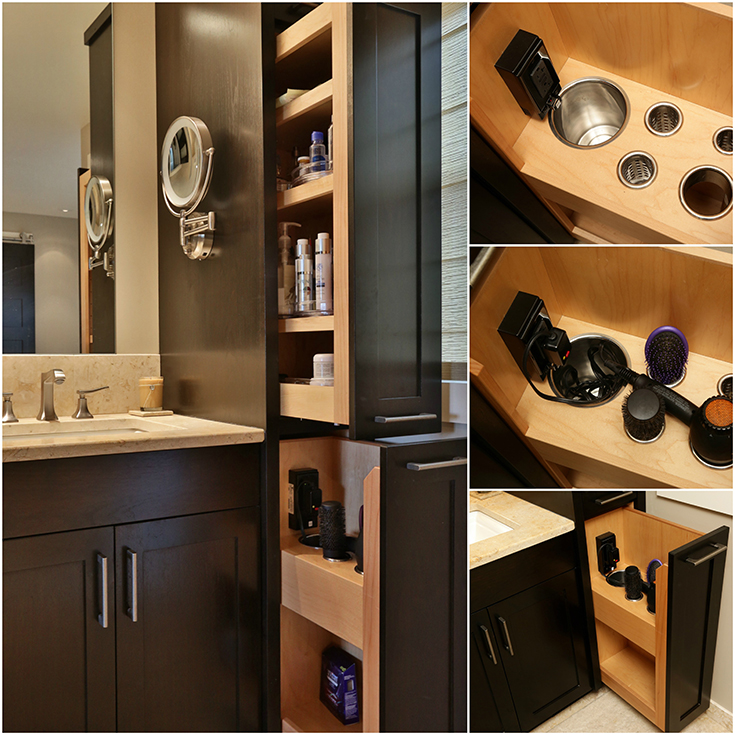 Feature both love feature 3 drawer in bathroom for curling iron blow drier | Innovate Building Solutions #bathroomremodel #BathroomDrawer #ShowerRemodel #FancyBathroom #masterbath