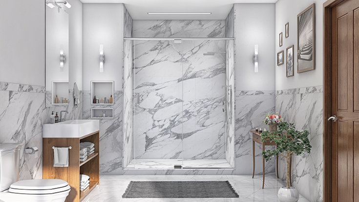 Alternative 2 calcutta white PVC composite shower wall panels and base | Innovate Building Solutions | #CalcuttaWhite #Shower #Wallpanels BathroomRemodel