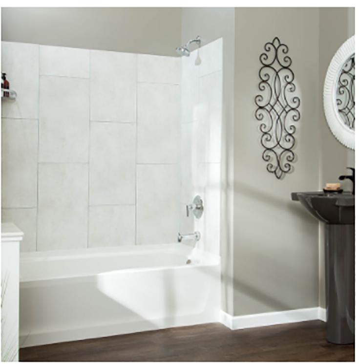 Alternative 6 viny tile tub wall panels credit www.dumawall.com | Innovate Building Solutions | #VInylTile #WallPanels #Showerwallpanels #BathroomRemodel