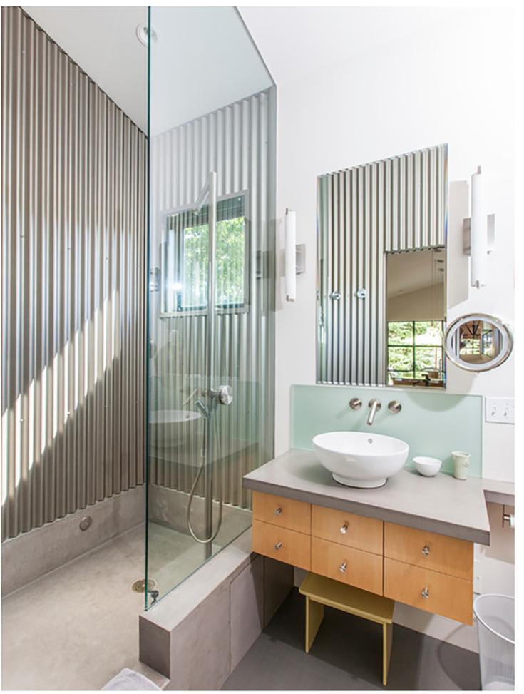 Alternative 7 corregated barn tin metal DIY shower wall credit www.cbssheetmetal.com | Innovate Building Solutions #ShowerWallPanels #TinMetal #Barnstyle #FarmStyle