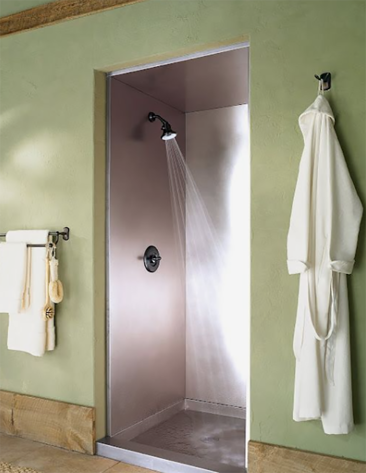Alternative 7 stainless steel shower walls and pan credit www.frigodesign.com | Innovate Building Solutions | #Showerwallpanels #WallPanels #Stainlesssteel #bathroom