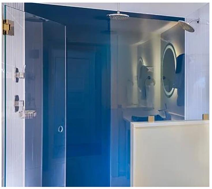 Alternative 8 purple back painted shower walls credit www.dillmeierglass.com | Innovate Building Solutions | #backpaintedGlass #Glasspanels #ShowerRemodel #ShowerWallPanels