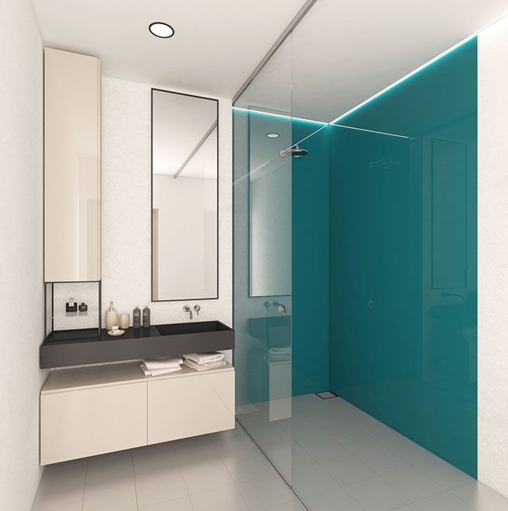 Alternative 9 aluminum high gloss shower wall credt www.alusplash.com | Innovate Building Solutions | #Aluminum #HighGlossPanels #ShowerPanels