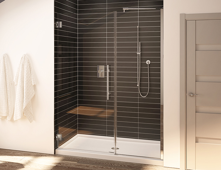Factor 2 budget friendly Alcove acrylic shower pan | Innovate Building Solutions | #AcrylicBase #ShowerPan #BathroomRemodel #ShowerRemodel
