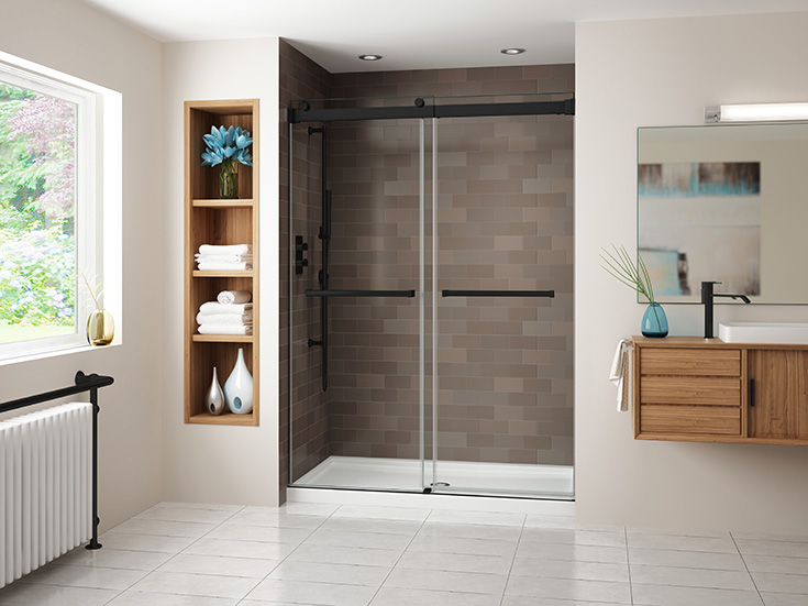 Factor 7 low profile acrylic shower pan with bypass sliding glass doors | Innovate Building Solutions | #ShowerPan #AcrylicBase #BathroomRemodel