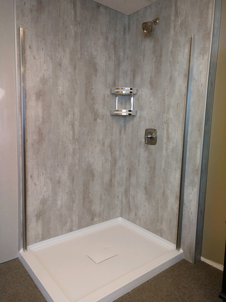 Cool idea 2 48 x 36 reinforced acrylic shower pan with a hidden drain plate | Innovate Building Solutions | #ReinforcedAcrylic #ShowerBase #BathroomRemodel