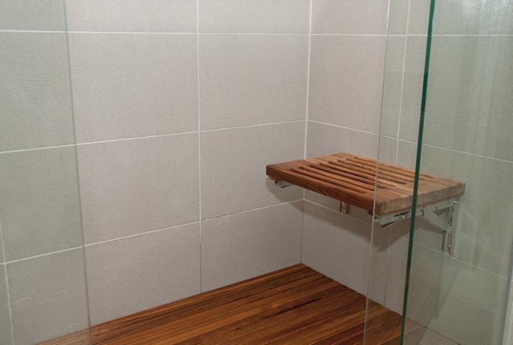 Idea 10 teak fold down seat and teak floor credit www.teakworks4u.com | Innovate Building Solutions | #FoldDownSeat #ShowerSeat #Bathroomremodel