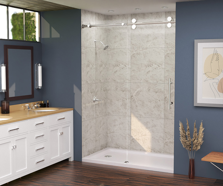 Idea 3 option 1 white marble laminate shower wall panels in alcove 60 x 36 shower   Innovate Building Solutions   #Whitemarble #ShowerDesign #BathroomRemodel