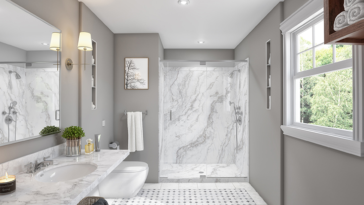 Idea 3 option 2 PVC white marble wall panels in a 60 x 32 alcove shower surround | Innovate Building Solutions | #PVCComposite #Sentrel #WallPanels #WhiteMarble