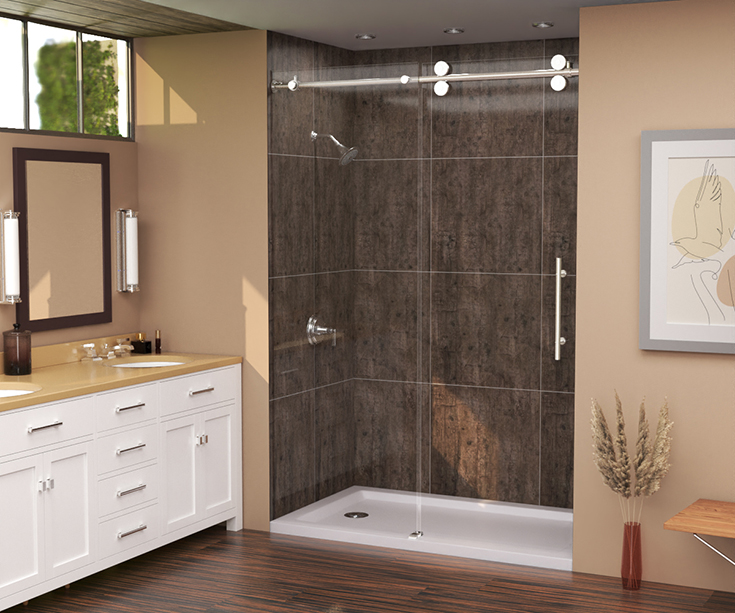Idea 5 rough wood laminate shower wall panels in an alcove 60 x 32 shower | Innovate Building Solutions #RoughWood #LaminateWallpanels #BathroomRemodel
