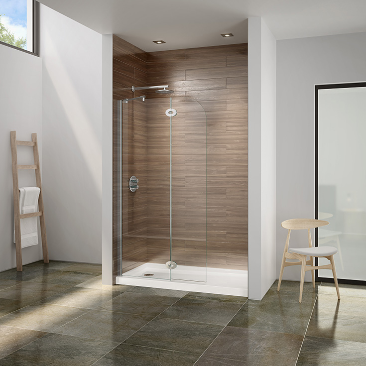 Idea 6 pivoting shower screen in a 60 x 36 alcove shower | Innovate Building Solutions | #PivotingShower #ShowerScreen #BathroomRemodel #ShowerRemodel