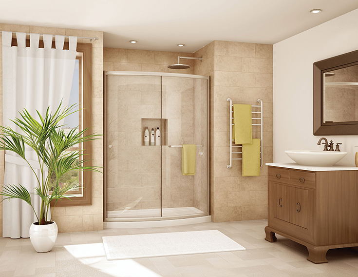 Idea 7 curved sliding glass enclosure for a bath to shower conversion | Innovate Building Solutions | #WallPanels #ShowerConversions #BathroomRemodel