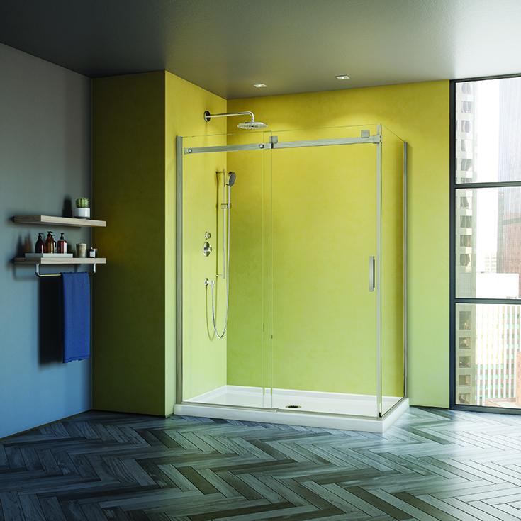 Advantage 5 sliding - corner sliding glass shower door in brushed nickel | Innovate Building solutions #Glassdoor #slidingdoor #cornershower