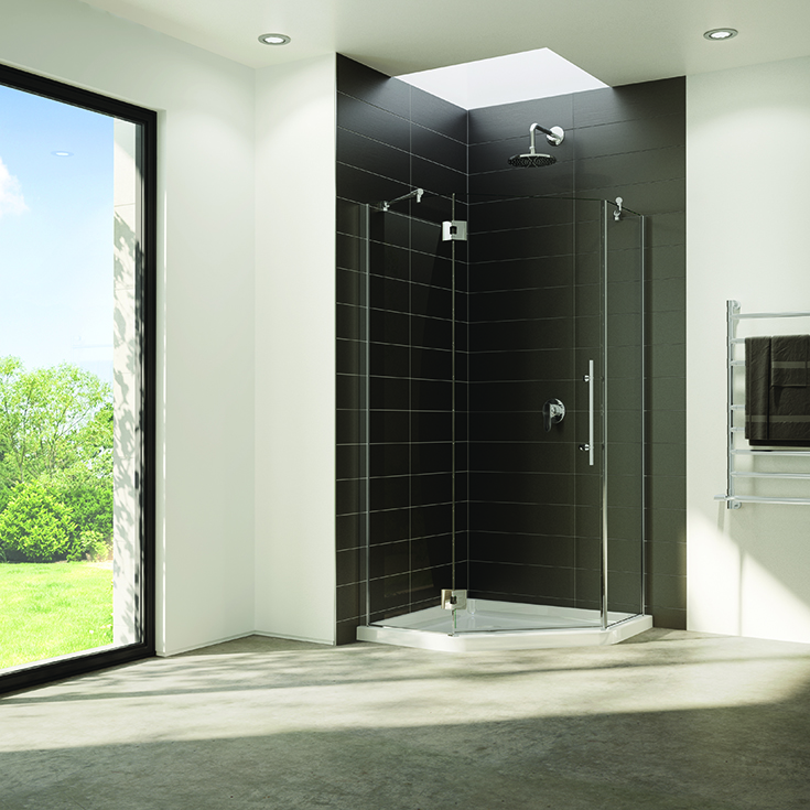 Question 2 NEO angle shower with a pivoting door and hinges | Innovate Building Solutions | #GlassDoor #NeoAngle #CornerShower