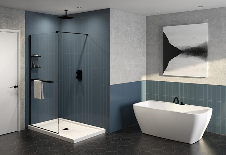 Question 3 fixed walk in shower glass matte black finish | Innovate Building Solutions | #fixedglass #Glassdoor #ShowerDoor