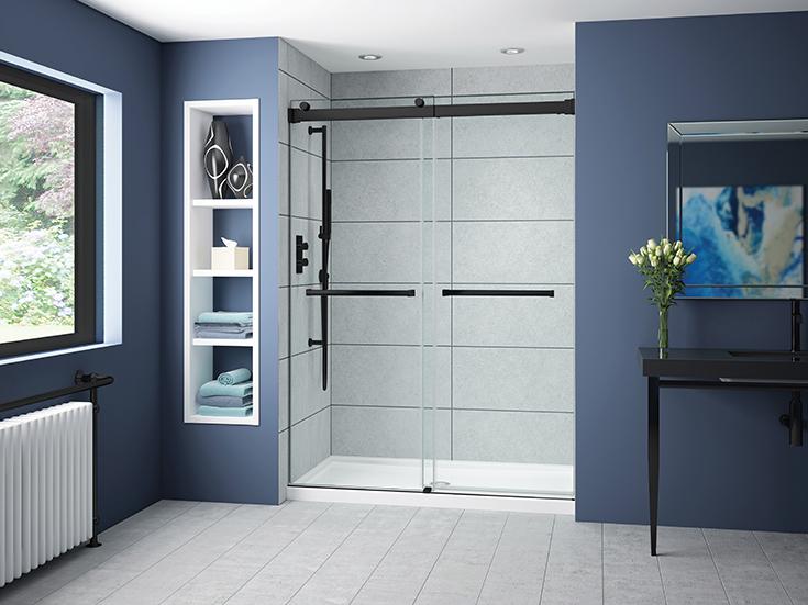 Question 3 sliding by pass matte black 60 inch wide shower door | Innovate Building Solutions | #Glassdoor #Showerdoor #SlidingDoor
