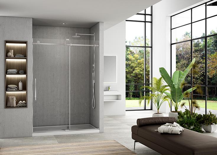 Question 5 luxury barn door style sliding glass door taller glass 86 inches high | innovate building solutions #Glassdoor #Luxurybath #slidingdoor