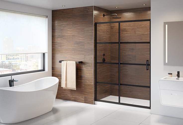 Question 7 matte black hardware on a glass shower door | Innovate Building Solutions | #Matteblackdoor #Glassdoor #ShowerDoor