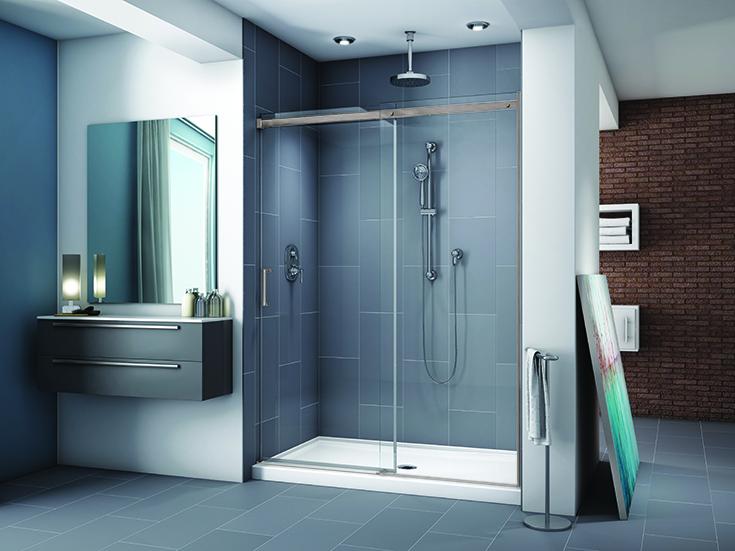sliding glass shower door brushed nickel barn door style | Innovate Building Solutions | #GlassDoor #SlidingDoor #GlassDoor