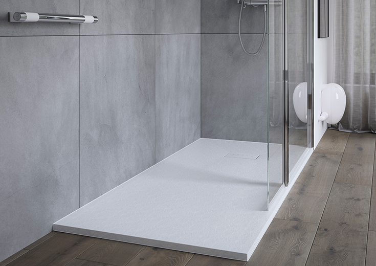 Tip 5 hidden drain cover in a contemporary acrylic shower pan   innovate building solutions #HiddenDrain #LinearDrain #ShowerBase