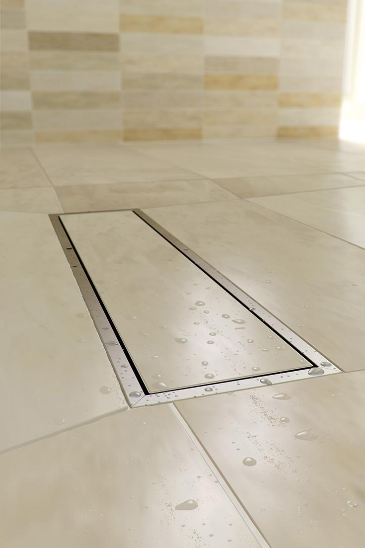 Tip 5 linear drain with tile insert for a hidden appearance   Innovate Building Solutions #LinearDrain #TileShower #Showerbase #CustomShower