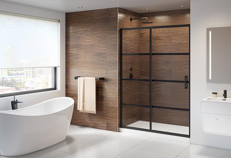 Mistake 5 tip 1 sliding glass shower door in a 60 inch alcove shower | Innovate Building Solutions #ALcove #ShowerDoor #PivotDoor