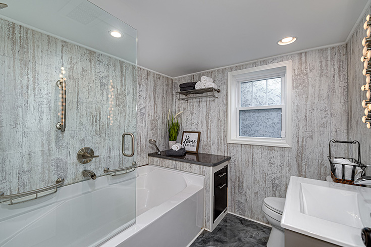 Quality 4 modern farmhouse laminate shower and tub wall panels | Innovate Building Solutions #ModernFarmhouse #ShowerSurround #TubSurround
