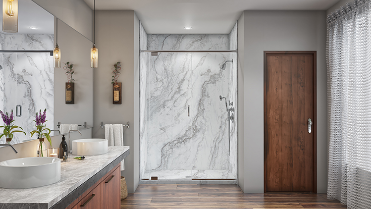 Quality 5 slab looking white marble pattern shower wall panels | Innovate Building Solutions #MarblePan #ShowerBase #MarbleSHower