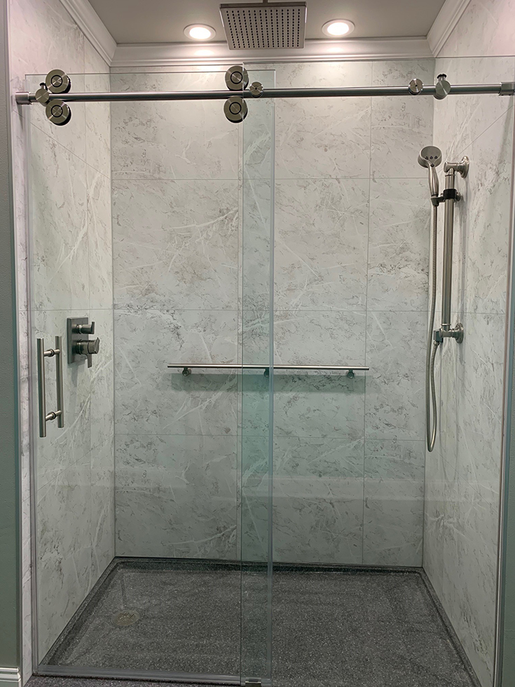 Quality 5 white marble 24 x 24 laminate shower surround panels | Innovate Building Solutions #WhiteMarble #MarbleShower #ShowerPan