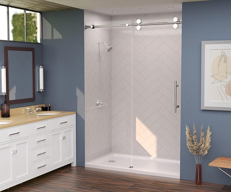 Quality 7 herringbone pattern shower wall panels | Innovate Building Solutions #ShowerWallPanels #WallPanels #BathroomRemodel #ShowerRemodel