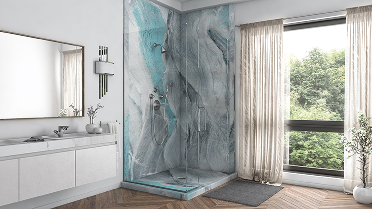 Quality 7 matching pvc shower pan and wall panels in a corner shower | Innovate Building Solutions #PVCShower #ShowerWallPanels #BathroomRemodel