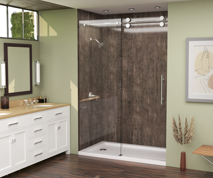Quality 8 rough wood laminate shower wall panels in a standard shower | Innovate Building Solutions #RoughWood #LaminateWallPanels #ShowerRemodel
