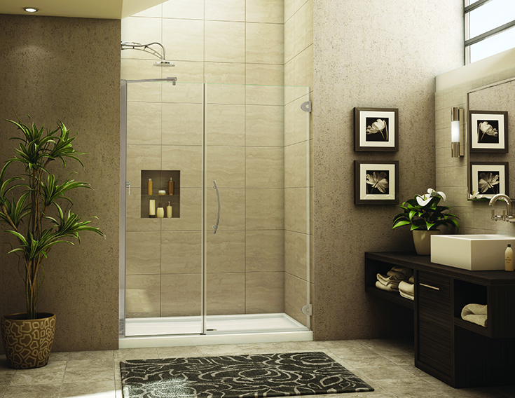 Question 1 in line alcove shower with a pivoting frameless glass door | Innovate Building Solutions #alcoveshower #Showerdoor #Framelessshower