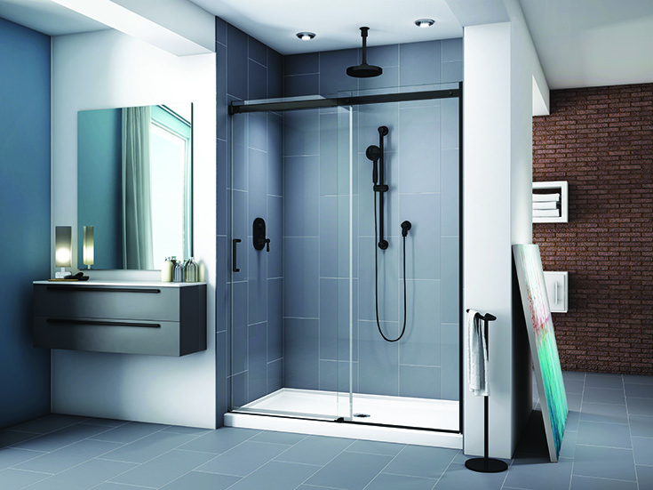 Section 1 definition low profile shower pan   Innovate Building Solutions #Lowprofile #Acrylicbase #Blackglassdoor