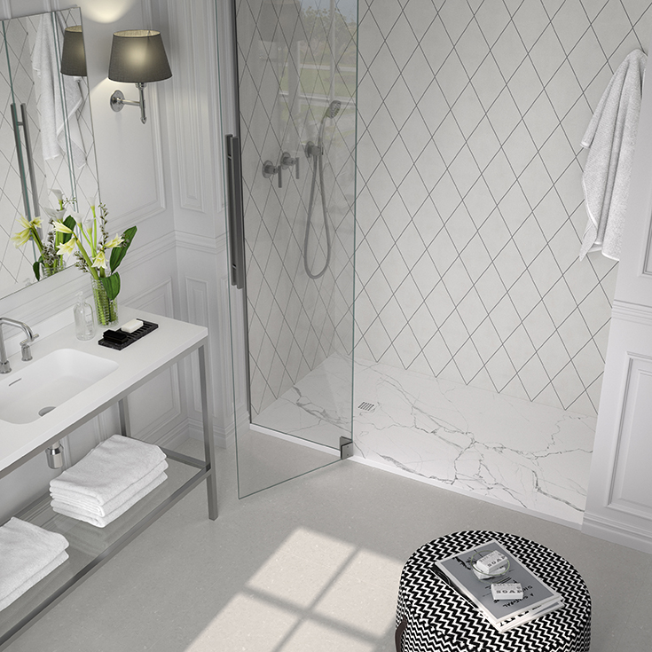 Section 2 option 1 low profile white marble pattern pan in a cool pattern   Innovate Building Solutions #Lowprofile #ShowerBase #whiteMarble