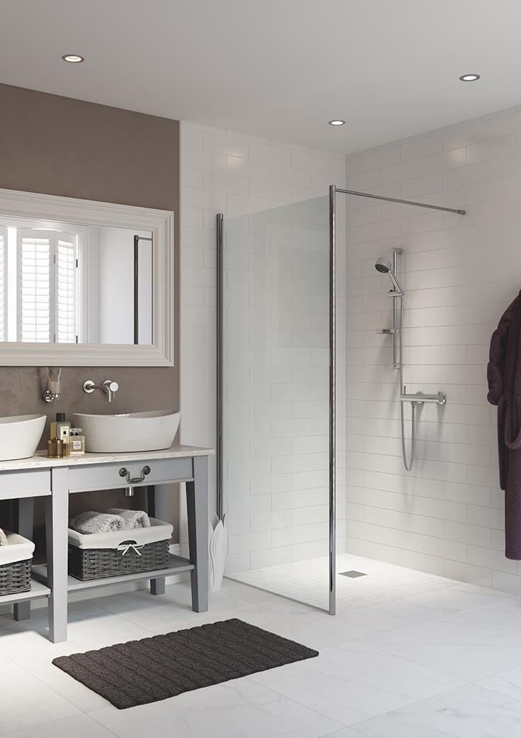 Section 2 option 3 one level shower in a small bathroom   Innovate Building Solutions #OneLevelShower #ShowerRemodel #BathroomRemodel
