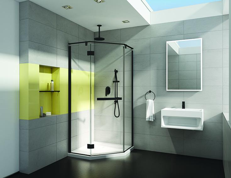 Question 1 NEO angle corner shower door on 45 degree angle | Innovate Building Solutions #NeoAngle #ShowerDoor #BathroomDoor