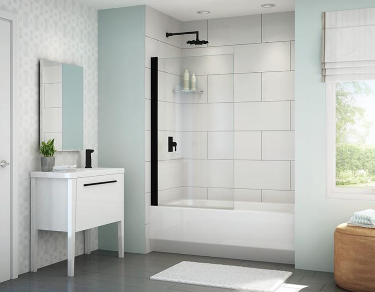 Question 1 fixed glass tub door in a matte black Innovate Building Solutions | #Fixedglass #TubDoor #Glassdoor