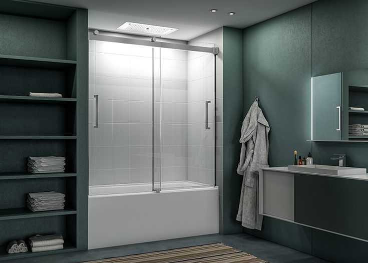 Question 1 frameless bypass tub doors in a brushed nickel finish Innovate Building Solutions #FramelessDoor #GlassDoor #BypassGlassdoor