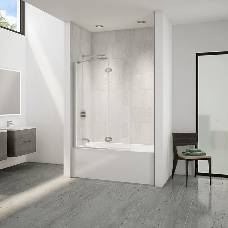 Question 1 pivoting tub screen with thick glass Innovate Building Solutions #pivotdoor #GlassDoor #Thickglass #Pivotingglassdoor