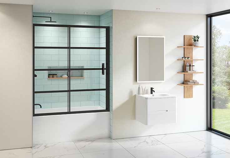 Question 1 sliding glass tub enclosure in a matte black Innovate Building Solutions #SlidingDoor #GlassTub #ShowerEnclosure