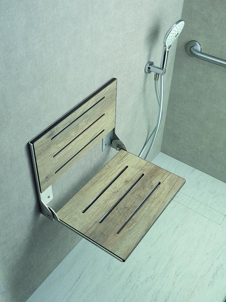 Question 12 weathered faux teak fold down shower seat Innovate Building Solutions #ShowerSeat #Folddownseat #bathroomseat #Showerseat