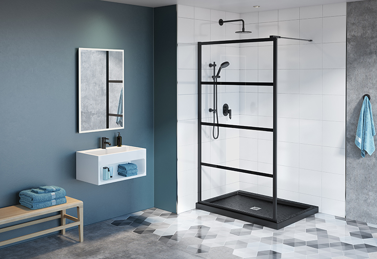 Question 2 Factor 1 fixed glass walk in shower with matte black finish | Innovate Building Solutions #glasswall #Matteblackaccent #WhiteBathroom
