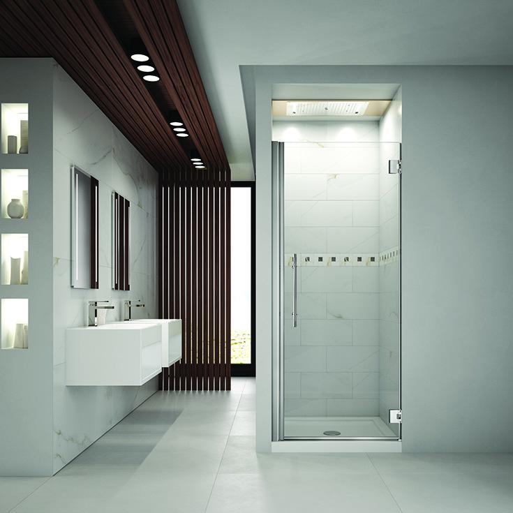 Question 2 Factor 3 pivoting single glass shower door brushed nickel finish | Innovate Building Solutions #pivotdoor #Glassdoor #Showerdoor
