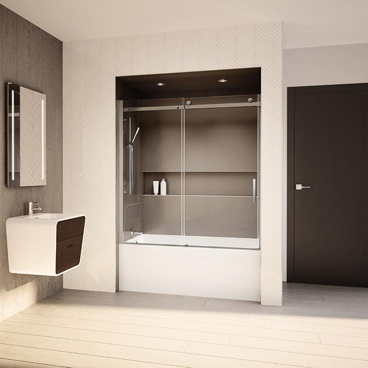 Question 3 clear glass sliding tub enclosure Innovate Building Solutions #Clearglass #SlidingGlass #Glasstubdoor